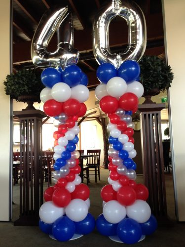 Ballonnenpilaar style met folie cijfer